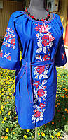 Сукню (льон, машинна вишивка) L Розалія електрик 2001-п-002В-50