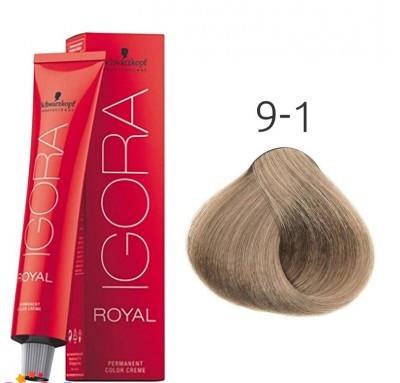 Краска для волос Schwarzkopf Professional Igora Royal 60 мл 9-1 Блондин сандрэ