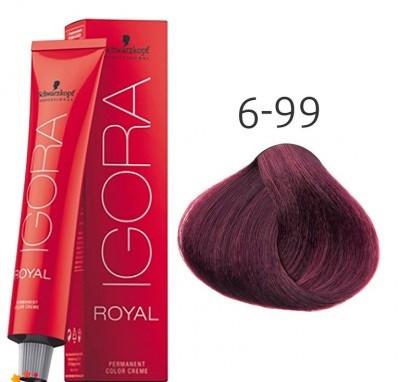 Краска для волос Schwarzkopf Professional Igora Royal 60 мл 6-99 темный русый фиолетовый экстра