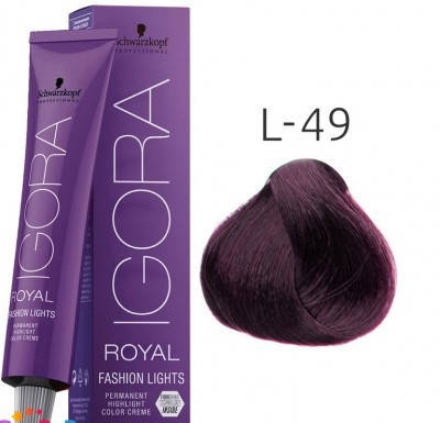 Краска для волос Schwarzkopf Igora Royal Fashion Light 60 мл L-49 бежево-фиолетовый, фото 2