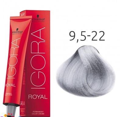 Краска для волос Schwarzkopf Professional Igora Royal 60 мл 9,5-22 Светлый блондин пепельный экстра