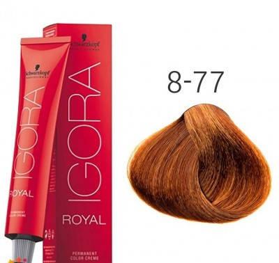 Краска для волос Schwarzkopf Professional Igora Royal 60 мл 8-77 Светлый русый медный экстра, фото 2