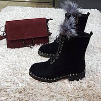 Ботинки женские зимние из натуральной замши и натурального меха на платформе черные