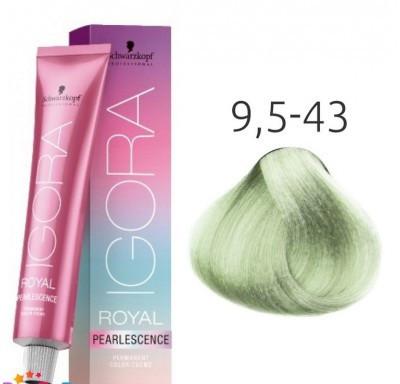 Краска для волос Schwarzkopf Igora Pearlescence 60 мл 9,5-43 Светлый Блондин Пастельный Ментол