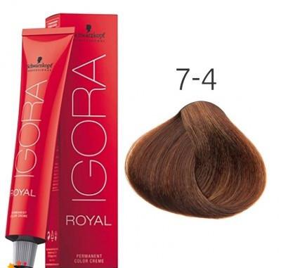 Краска для волос Schwarzkopf Professional Igora Royal 60 мл 7-4 Средний русый бежевый