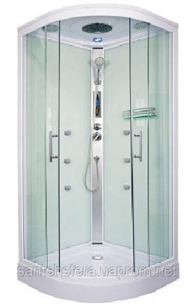 Гидробокс Fabio FS-260/15 с электроникой, 90 х 90 см, профиль сатин, стекло фабрик, заднее стекло белое
