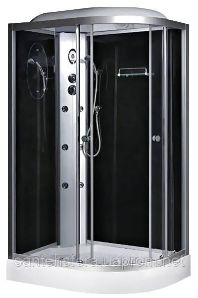 Гидробокс Fabio TMS-886/15 L c электроникой, 120х80 см, профиль сатин, стекло серое, заднее стекло черное