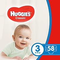 Подгузники Huggies Classic 3 (4-9 кг) 58шт Huggies 9401037