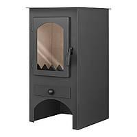 Стальной камин на дровах с конфоркой ACKERMAN W6F 6 кВт  квадратный (верх прямой, дверка стекло) черный