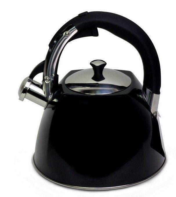 Чайник для кухни из нержавеющей стали Kamille KM-0697A 3 л черный со свистком