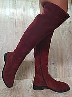 Женские ботфорты из натуральной замши кирпичного цвета