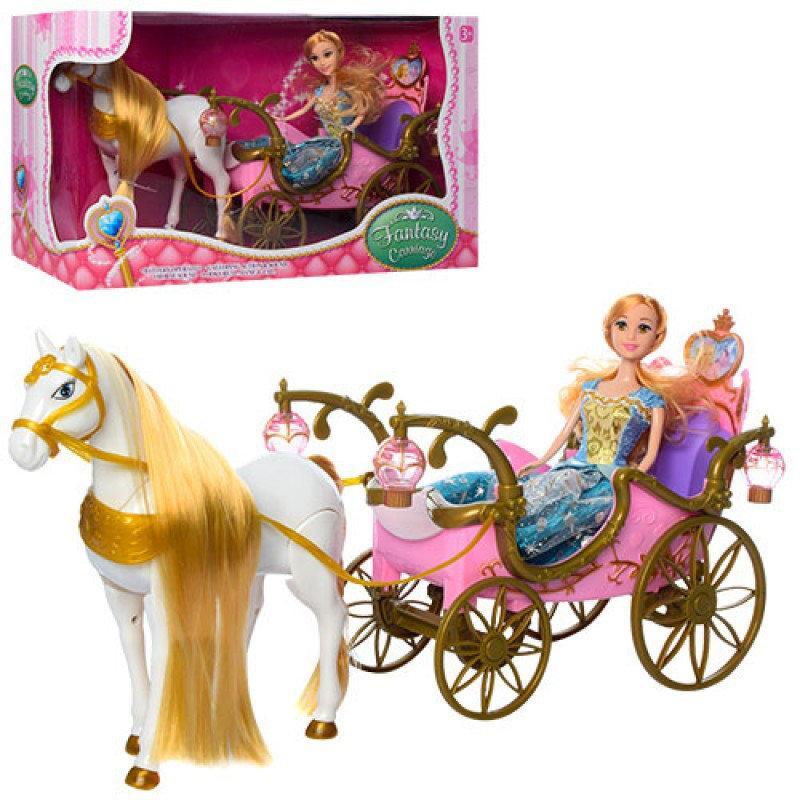 Подарочный набор Кукла с каретой и лошадью розовая ходит, 252A