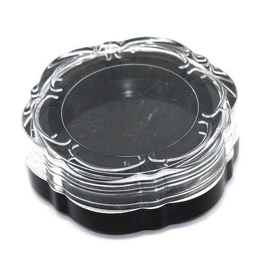 Баночка прозрачная граненая черная крышка