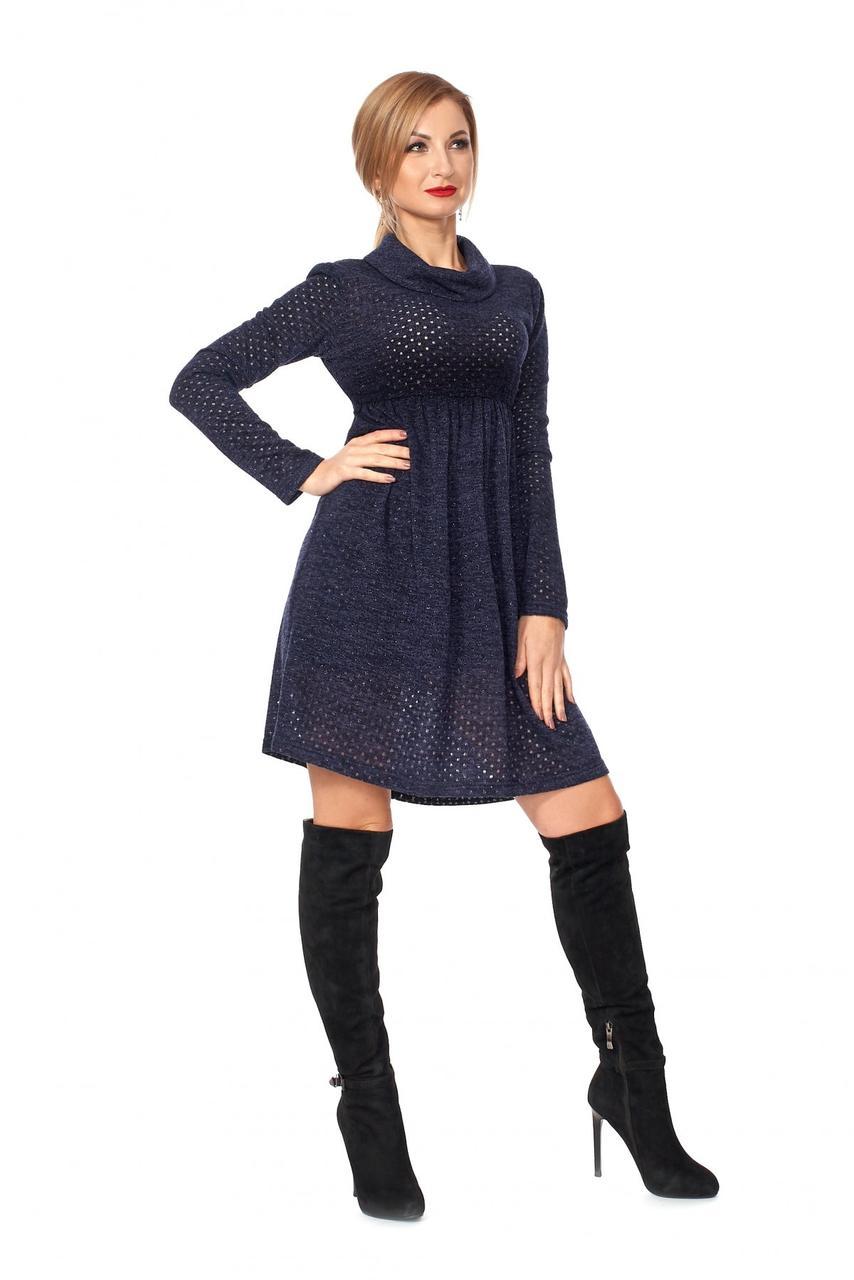 / Размер 42,44,46 / Женское платье с перфорацией 1108.4_темно-синий