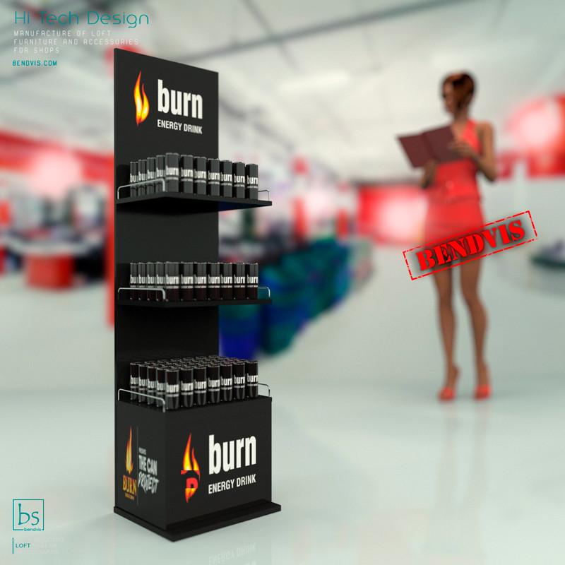 Заказать металлические рекламные торговые стойки Burn от Bendvis