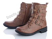 """Ботинки демисезонные женские """"Zoom"""" #HY130 khaki. р-р 36-41. Цвет коричневый. Оптом"""