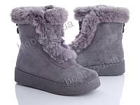 """Ботинки зимние женские """"Zoom"""" #BJ022 grey. р-р 36-41. Цвет серый. Оптом"""