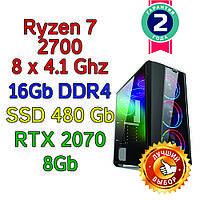 Игровой компьютер / ПК  ( AMD Ryzen 7 2700  (8 x 4.1GHz) \ B450 \ 16Gb DDR4 \SSD 480 Gb \ RTX 2070 8Gb \ 800W)
