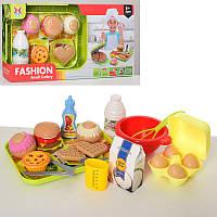 Ігровий набір продукти фастфуд, гамбургер, вафлі, продукти, посуд, 326H-33