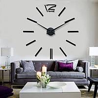 3Д часы на стену с клеящимися цифрами без корпуса для зала/гостиной 12 Time Black