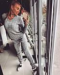 Женский вязаный костюм с узором на кофте и манжетами на штанах vN1545, фото 2