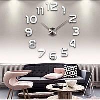 Зеркальные настенные 3D часы большого диаметра Арабские цифры Silver