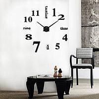 Зеркальные настенные 3D часы большого диаметра с надписями, черные