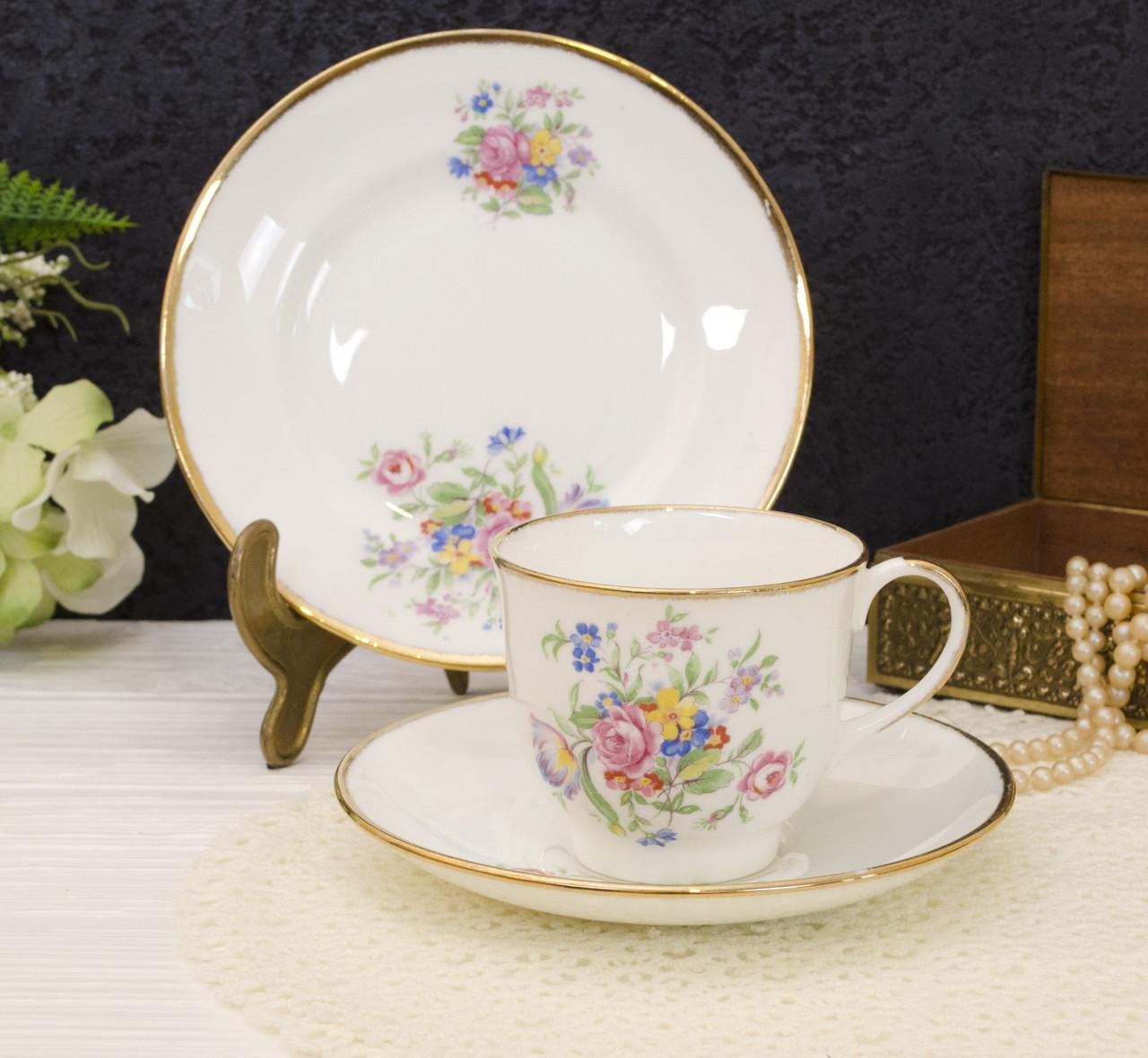 Винтажная чайная тройка от JASON BONE CHINA, Англия, костяной фарфор