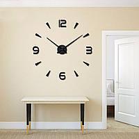 Зеркальные настенные 3D часы большого диаметра АРАБСКИЕ/ПОЛОСЫ 2018 BLACK
