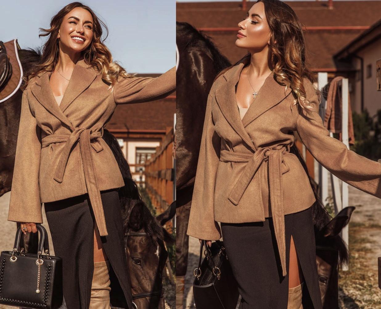 Женское короткое пальто,светло-коричневое