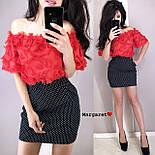 Женский юбочный костюм с топом из кружева реснички vN2080, фото 3