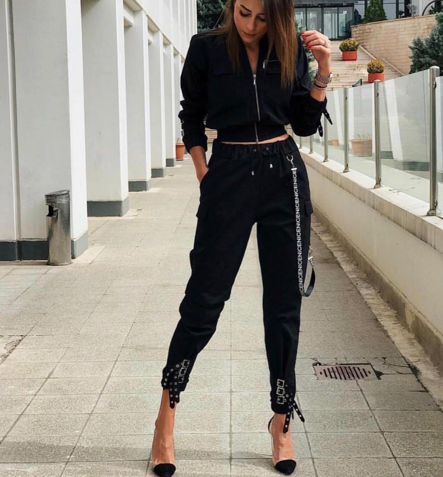 Женский костюм с брюками и бомбером укороченным vN2102