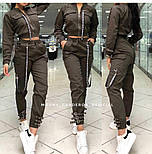 Женский костюм с брюками и бомбером укороченным vN2102, фото 2