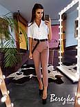 Женский брючный костюм с брюками карго и белой рубашкой vN2134, фото 5