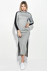 Платье женское с разрезами по бокам 70PD5005 (Серый меланж)
