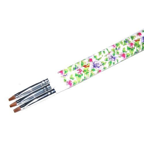 Кисть для геля белая ручка с цветами прямой ворс №4