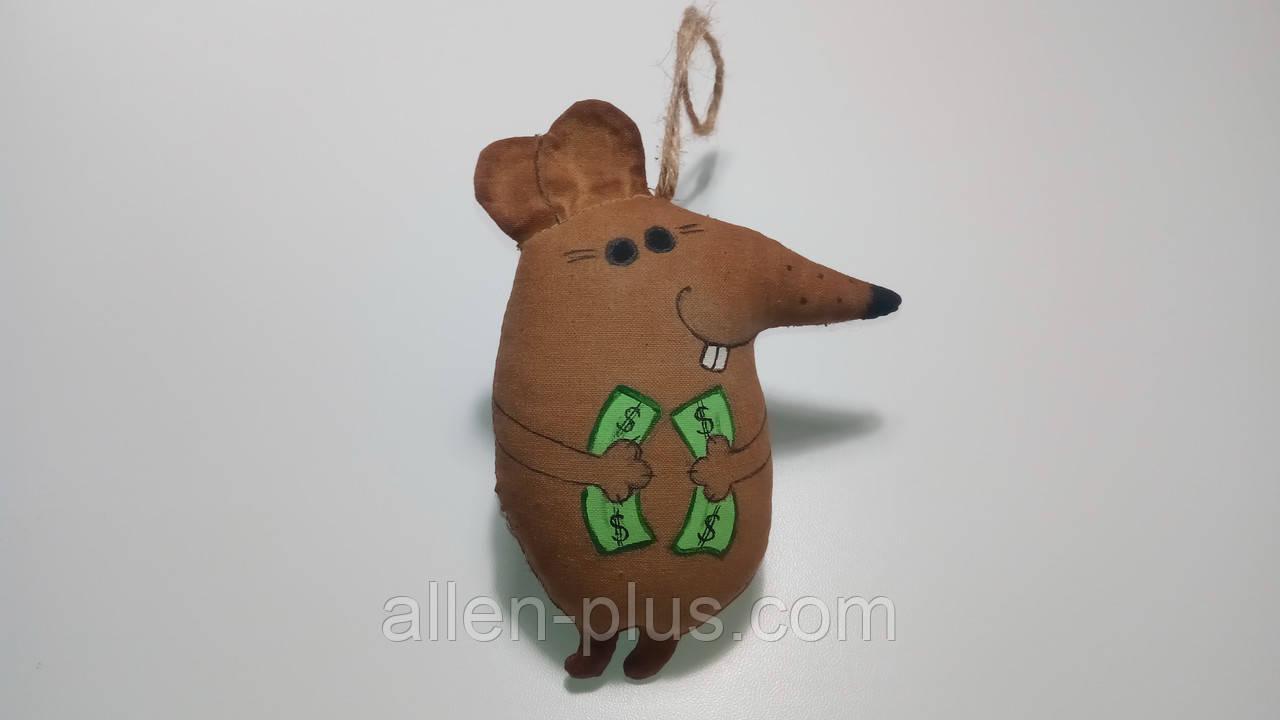 Кавова іграшка ручної роботи Миша з доларами