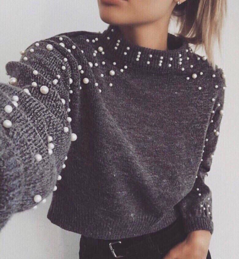 Женский вязаный свитер с жемчугом vN2178
