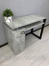 Стол маникюрный со стеклом на столешнице в стиле лофт V509