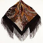 """Павловопосадский платок шерстяной с шелковой бахромой """"Тайна джунглей"""", 89x89 см рис 1125-16, фото 2"""