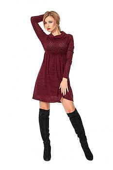 / Размер 42,46 / Женское платье с перфорацией 1108.1_марсала