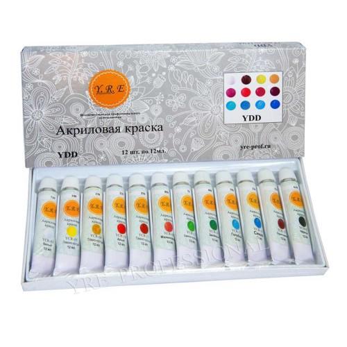 Краска акриловая 12мл 12 цветов (набор)