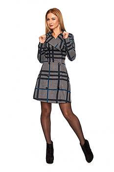 / Размер 42,44,46,48 / Женское платье с расширенной юбкой от уровня линии бедер 1106.3_серый с голубым