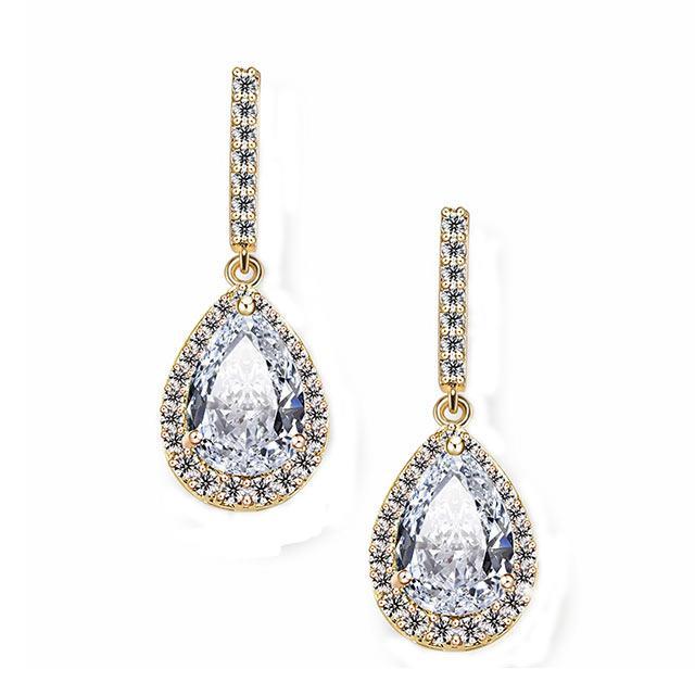 Сережки - Нарядні камені (Золоті з білим каменем)