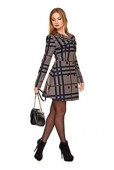 / Размер 42,44,46,48 / Женское платье с расширенной юбкой от уровня линии бедер 1106.1_коричневый