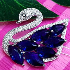 Серебряная брошь Лебедь - Брошка серебряная родированная с лебедем - Лебідка срібна брошка