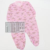 Человечек для новорожденного р. 74 с начесом ткань ФУТЕР 100% хлопок 834 Розовый