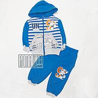 Детский спортивный костюм р. 74-80 для мальчика с начесом ткань ФУТЕР 4293 Синий