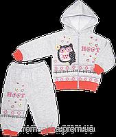 Детский спортивный костюм (теплый): кофта на молнии с капюшоном, штаны, начес, Китай, р. 74-80