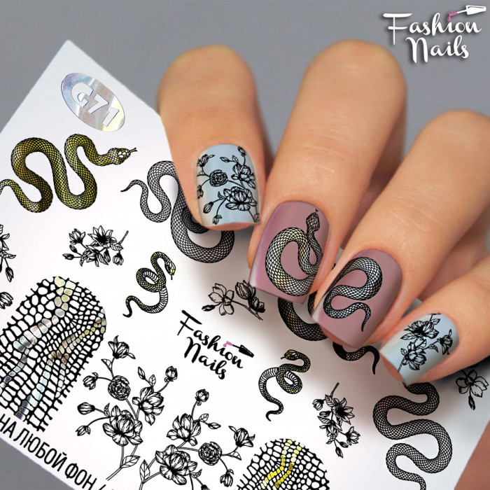 Слайдер-дизайн для дизайна ногтей - водные наклейки - змея, цветок, змеиная чешуя